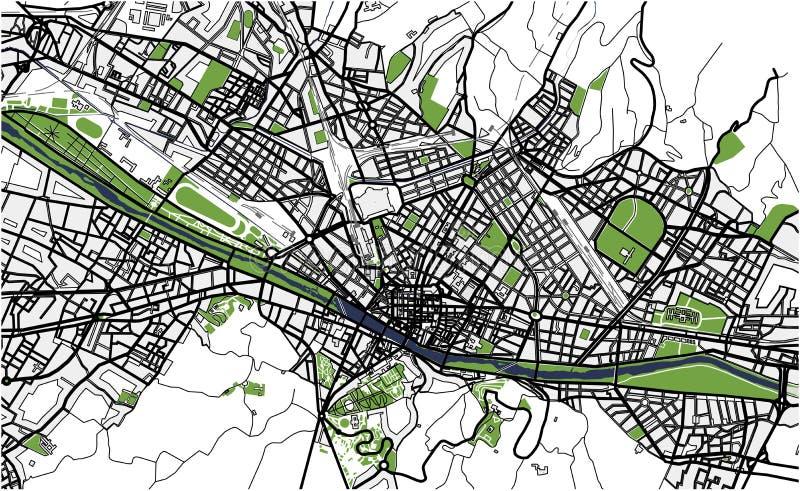 Mapa de la ciudad de Florencia, Italia stock de ilustración