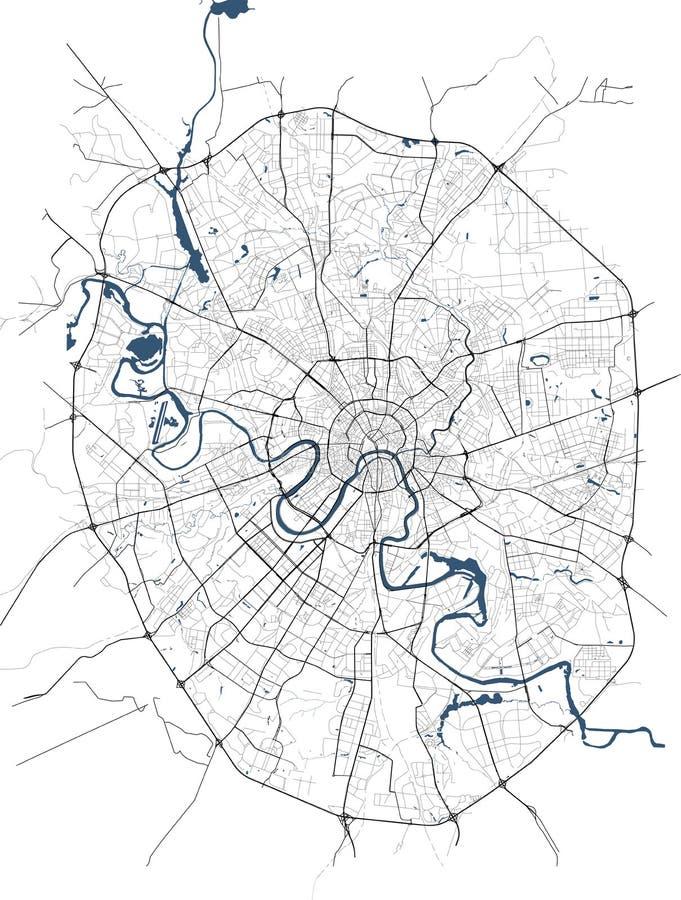Mapa de la ciudad de Moscú, Rusia ilustración del vector