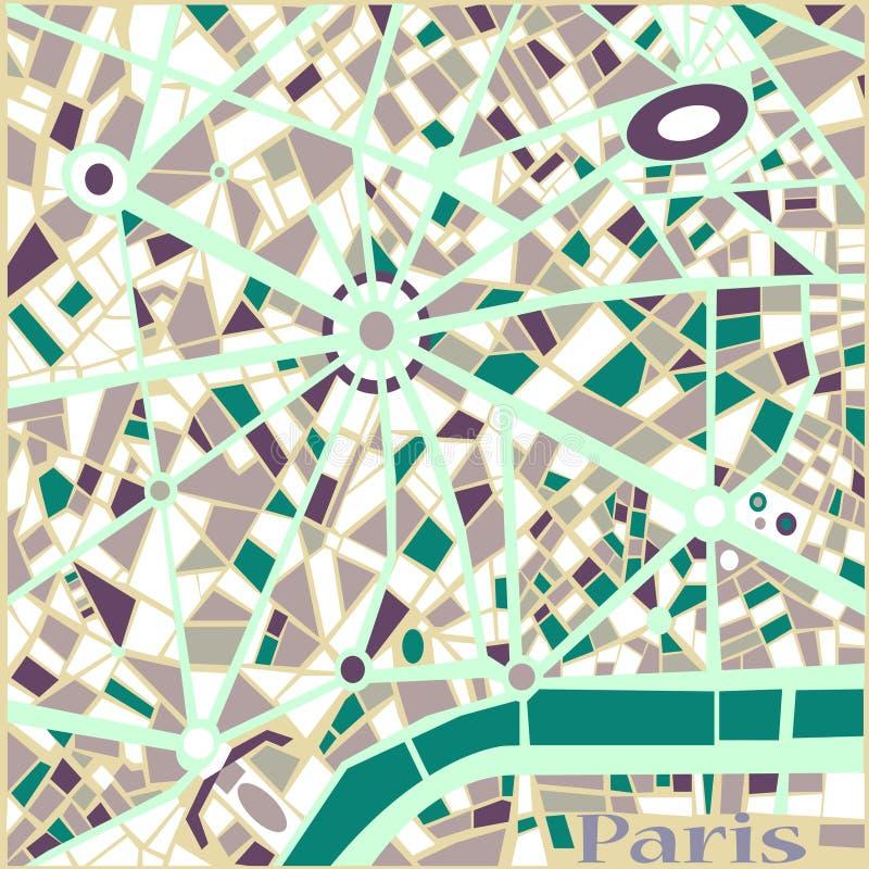 Mapa de la ciudad de París del modelo del extracto del fondo del vector  libre illustration