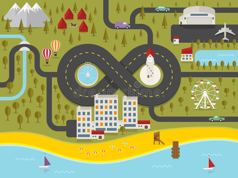 Mapa de la ciudad de vacaciones ilustración del vector