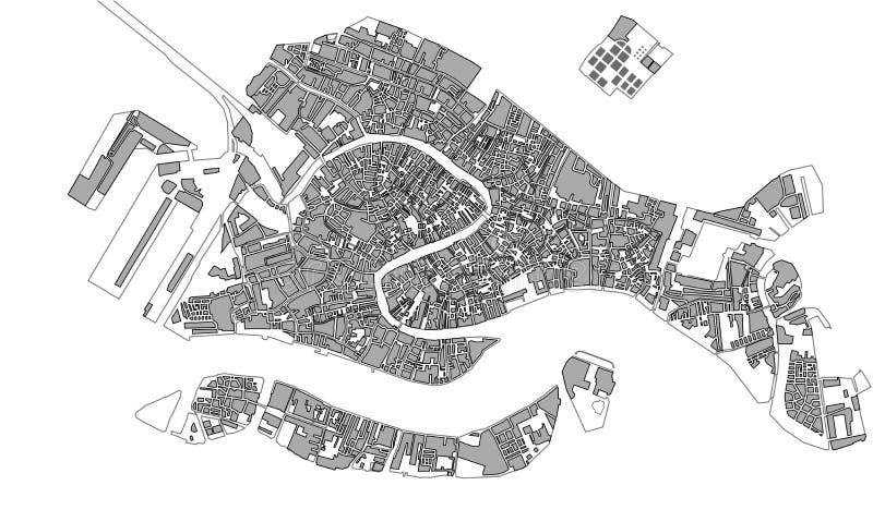 Mapa de la ciudad de Venecia, Italia stock de ilustración