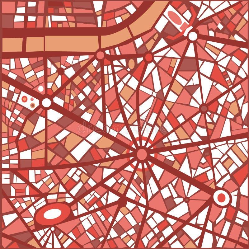 Mapa de la ciudad del extracto del fondo del vector  ilustración del vector