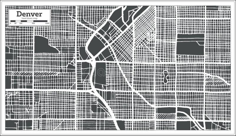 Mapa de la ciudad de Denver los E.E.U.U. en estilo retro Ejemplo blanco y negro del vector stock de ilustración