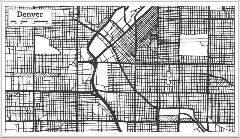 Mapa de la ciudad de Denver los E.E.U.U. en estilo retro Ejemplo blanco y negro del vector libre illustration