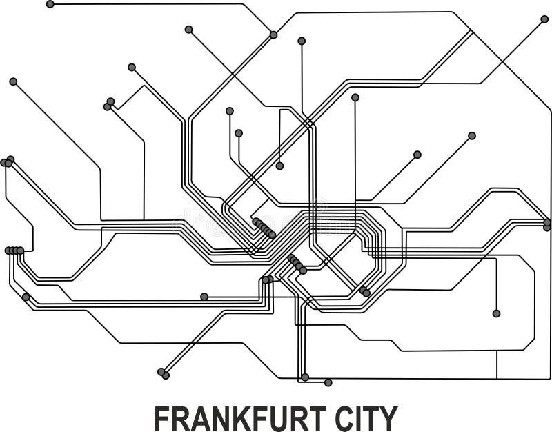 Mapa de la ciudad de Francfort ilustración del vector