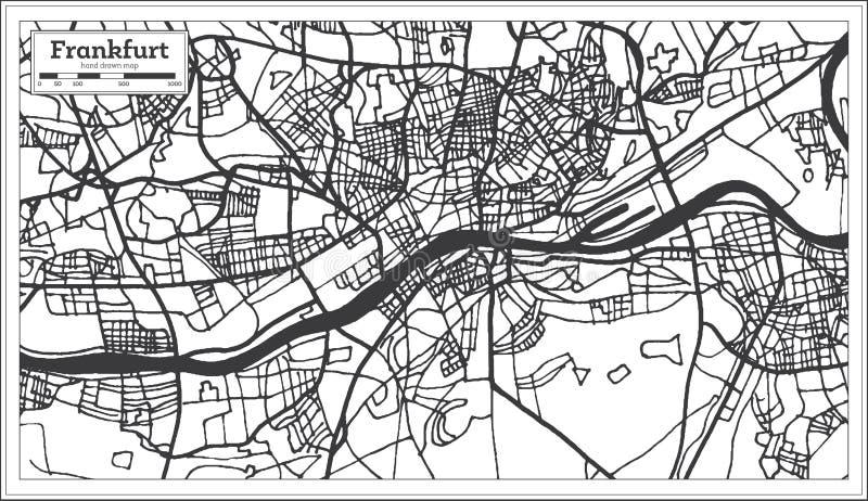 Mapa de la ciudad de Francfort Alemania en estilo retro Ejemplo blanco y negro del vector ilustración del vector