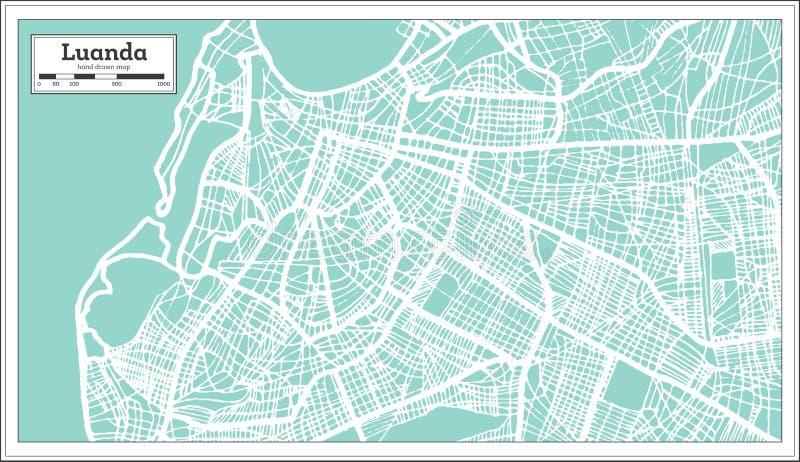 Mapa de la ciudad de Luanda Angola en estilo retro Ejemplo blanco y negro del vector ilustración del vector