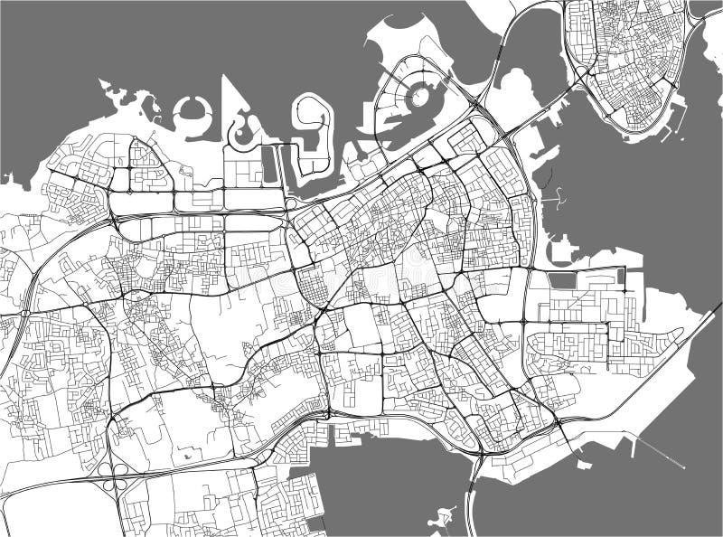 Mapa de la ciudad de Manama, Reino de Bahrein stock de ilustración