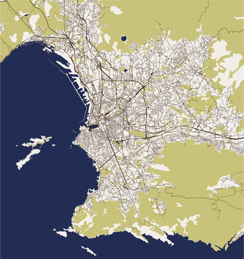 Mapa De La Ciudad De Marsella Francia Stock De Ilustracion