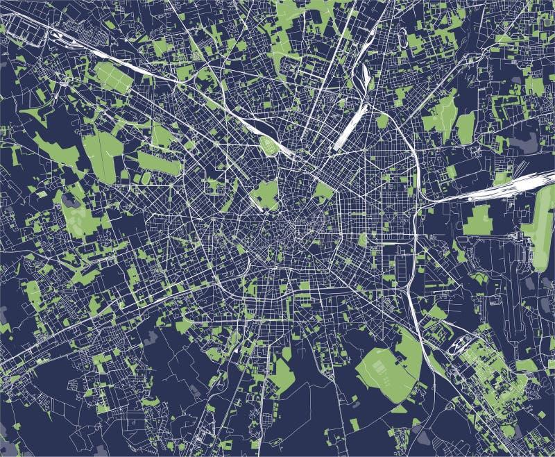 Mapa de la ciudad de Milán, capital de Lombardía, Italia ilustración del vector