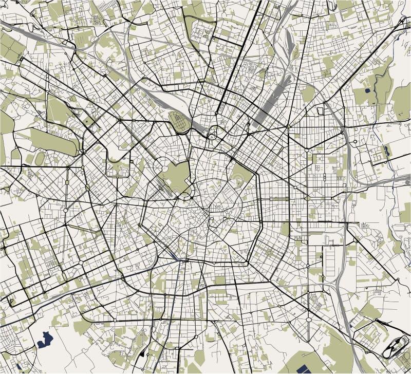 Mapa de la ciudad de Milán, capital de Lombardía, Italia stock de ilustración