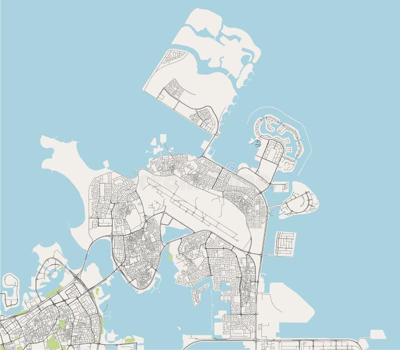 Mapa de la ciudad de Muharraq, Reino de Bahrein ilustración del vector