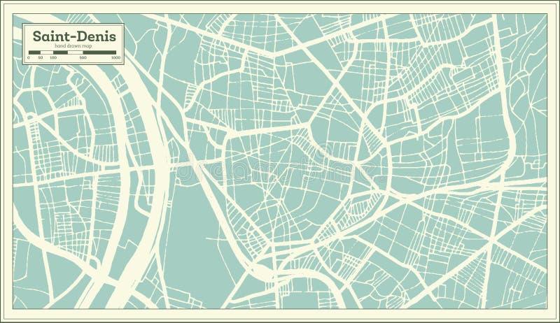 Mapa de la ciudad de Saint Denis Francia en estilo retro Ejemplo blanco y negro del vector ilustración del vector
