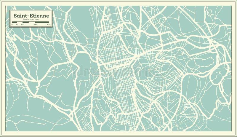 Mapa de la ciudad de Saint-E'tienne Francia en estilo retro Ejemplo blanco y negro del vector ilustración del vector