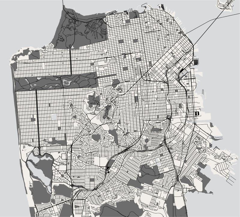 Mapa de la ciudad de San Francisco, los E.E.U.U. stock de ilustración