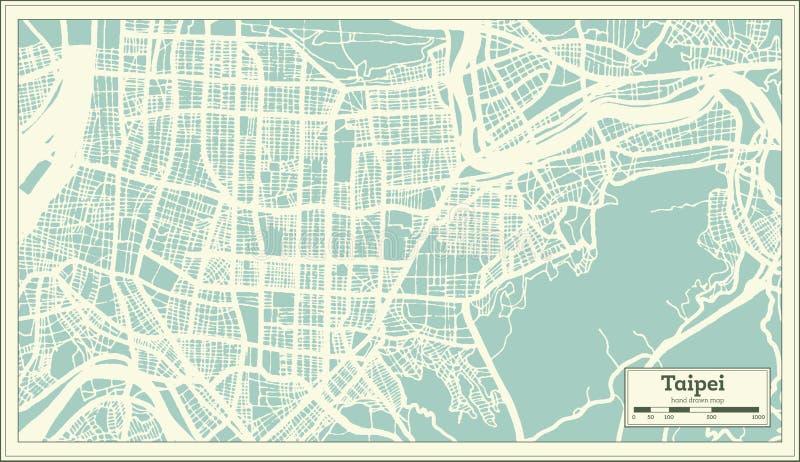 Mapa de la ciudad de Taipei Taiwán en estilo retro Ejemplo blanco y negro del vector libre illustration