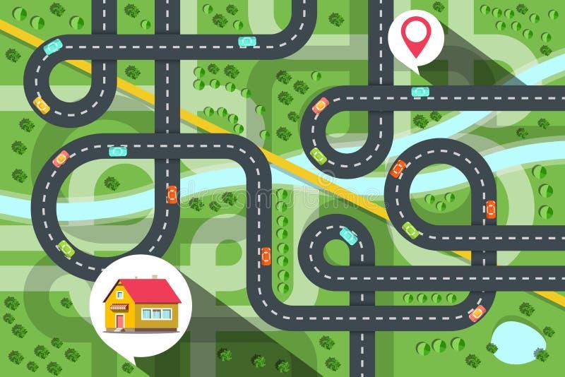 Mapa de la ciudad de la visión superior con los coches en el camino, el río y árboles Icono de la casa con el destino Pin Vector  libre illustration