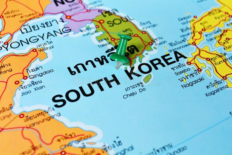 Mapa de la Corea del Sur fotografía de archivo