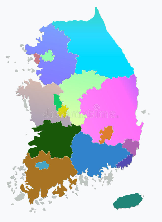 Mapa de la Corea del Sur foto de archivo
