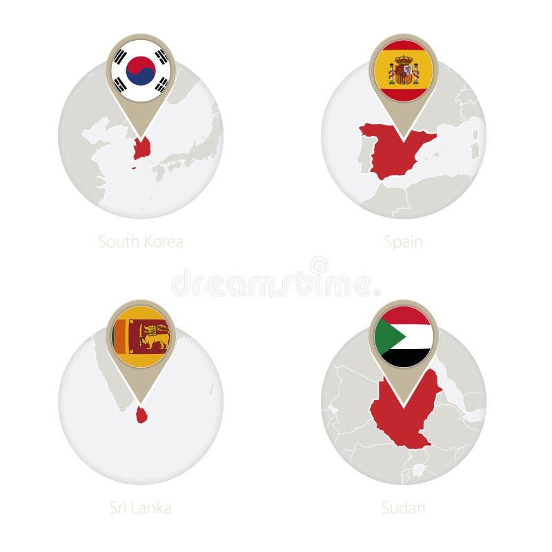 Mapa de la Corea del Sur, de España, de Sri Lanka, de Sudán y bandera en círculo libre illustration