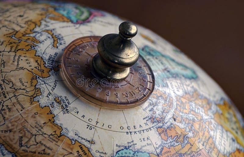 Mapa de la demostración del primer del globo del mundo del Océano ártico imágenes de archivo libres de regalías