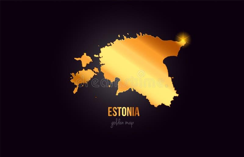 Mapa de la frontera del país de Estonia en diseño de oro del color del metal del oro ilustración del vector