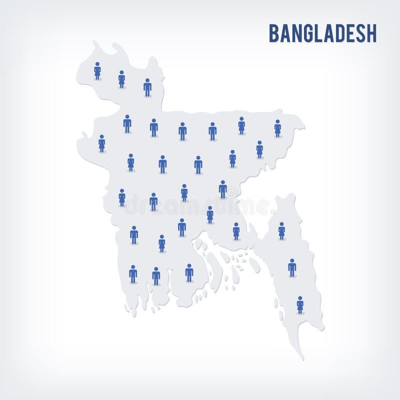 Mapa de la gente del vector de Bangladesh El concepto de población stock de ilustración