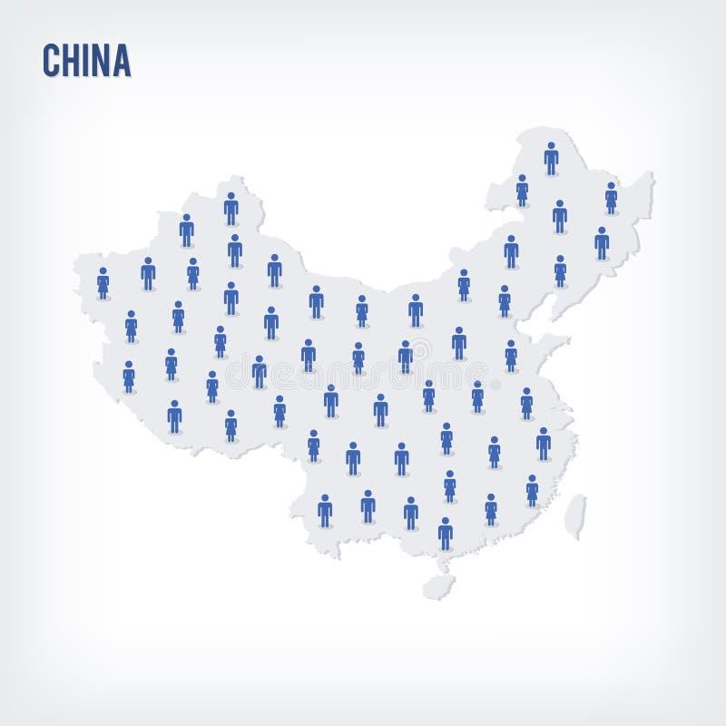 Mapa de la gente del vector de China El concepto de población libre illustration