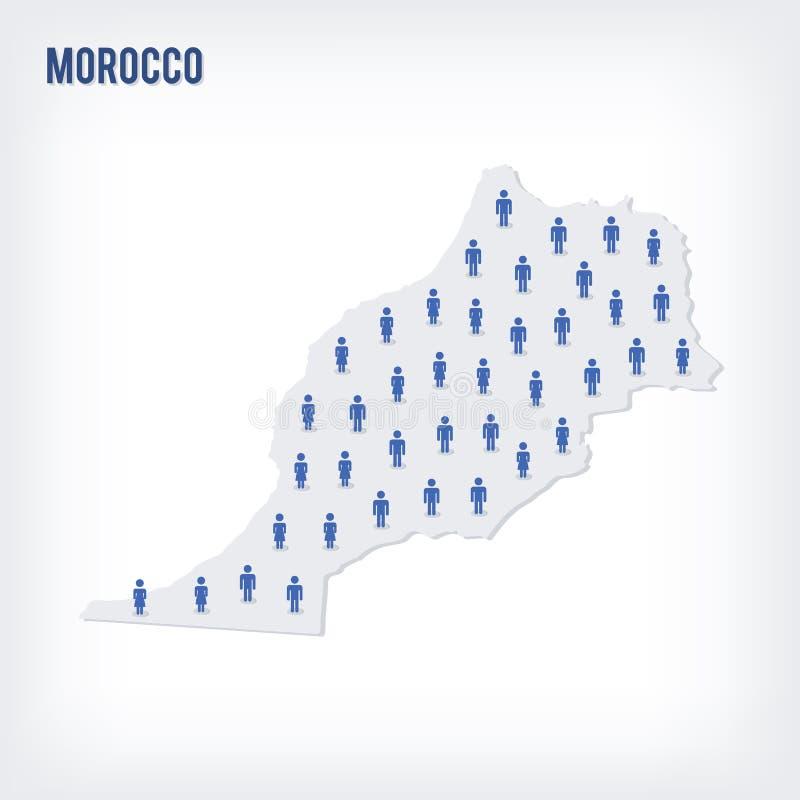Mapa de la gente del vector de Marruecos El concepto de población ilustración del vector