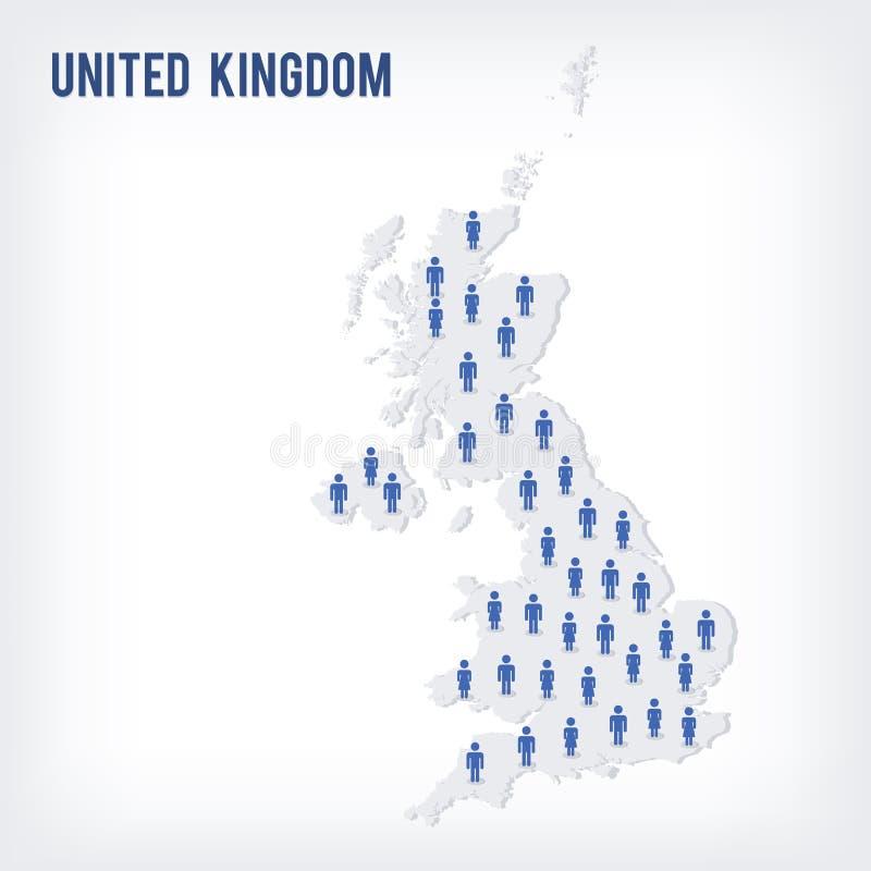 Mapa de la gente del vector de Reino Unido El concepto de población libre illustration