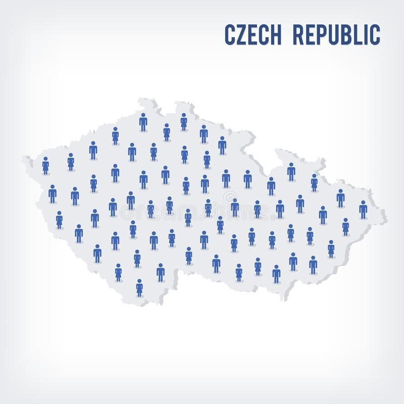 Mapa de la gente del vector de la República Checa El concepto de población stock de ilustración