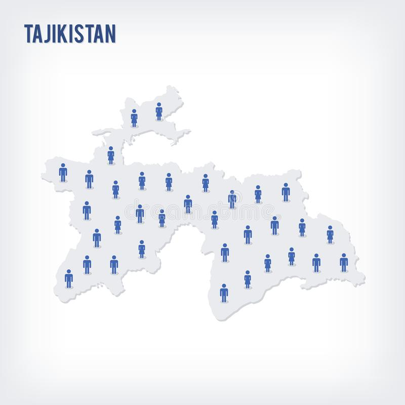 Mapa de la gente del vector de Tayikistán El concepto de población libre illustration
