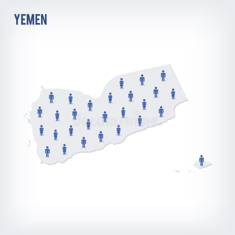 Mapa de la gente del vector de Yemen El concepto de población libre illustration