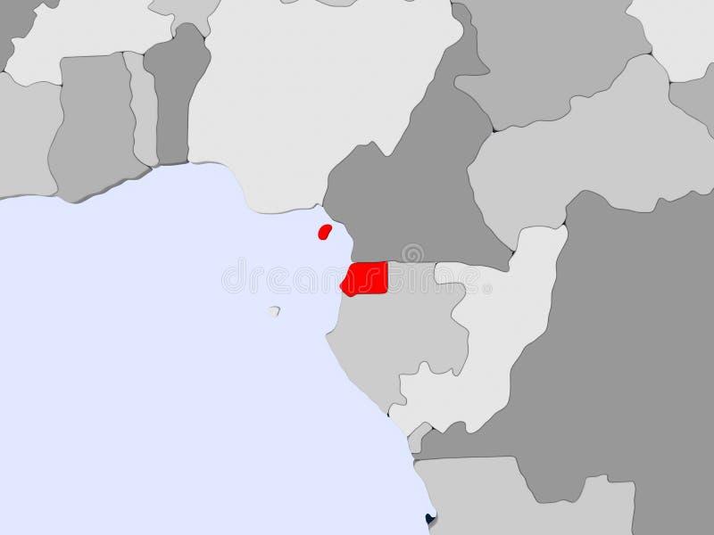 Mapa de la Guinea Ecuatorial stock de ilustración