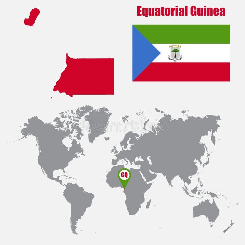 Mapa de la Guinea Ecuatorial en un mapa del mundo con el indicador de la bandera y del mapa Ilustración del vector stock de ilustración