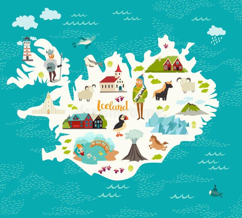 Mapa de la historieta de Islandia para el niño y los niños ilustración del vector