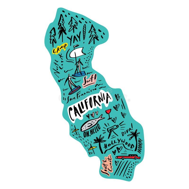 Mapa de la historieta del ejemplo del vector de California Arte imprimible para la materia textil, recuerdos, imagen para la pági stock de ilustración