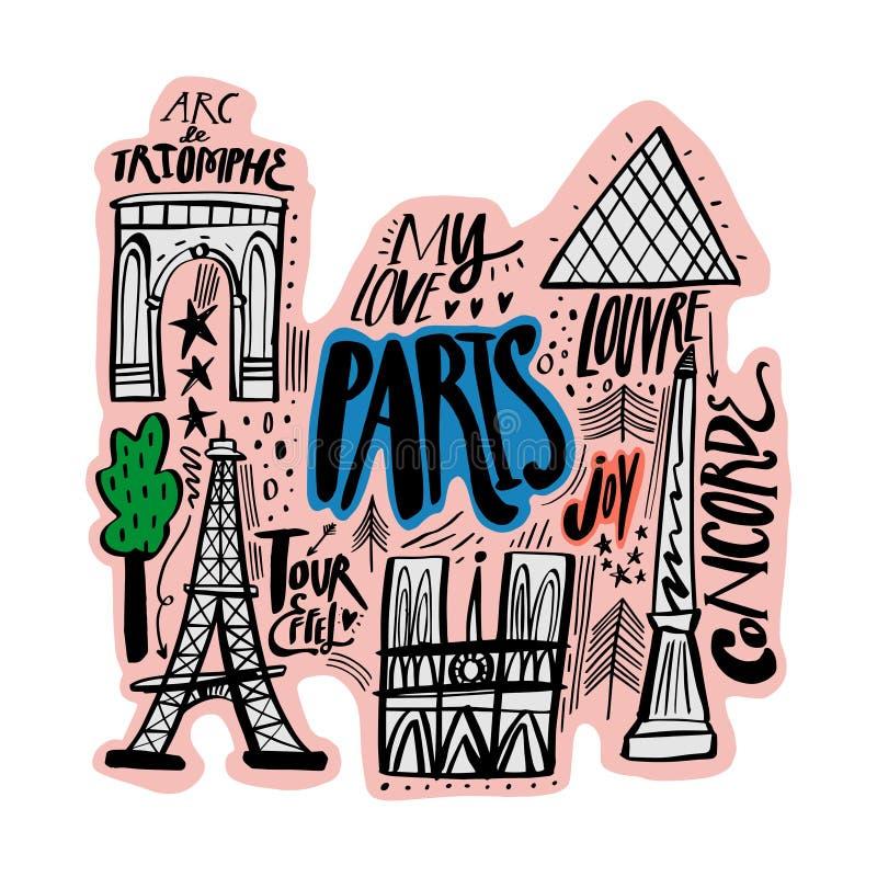 Mapa de la historieta del ejemplo del vector de París Arte imprimible para la materia textil, recuerdos, imagen para la página we ilustración del vector