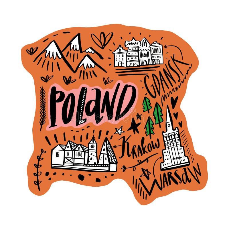 Mapa de la historieta del ejemplo del vector de Polonia Arte imprimible para la materia textil, recuerdos, imagen para la página  libre illustration