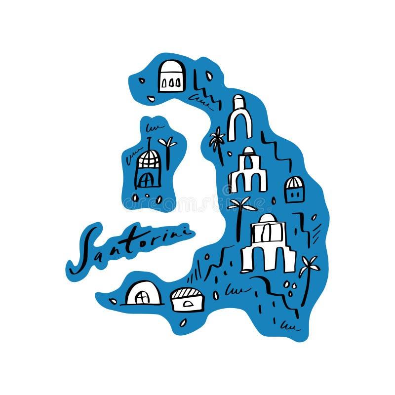 Mapa de la historieta del ejemplo del vector de Santorini Arte imprimible para la materia textil, recuerdos, imagen para la págin libre illustration