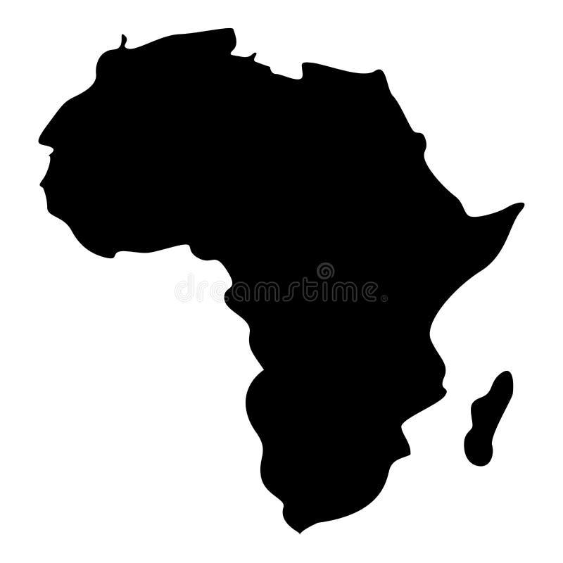 Mapa de la imagen simple del estilo plano del ejemplo de color del negro del icono de África ilustración del vector