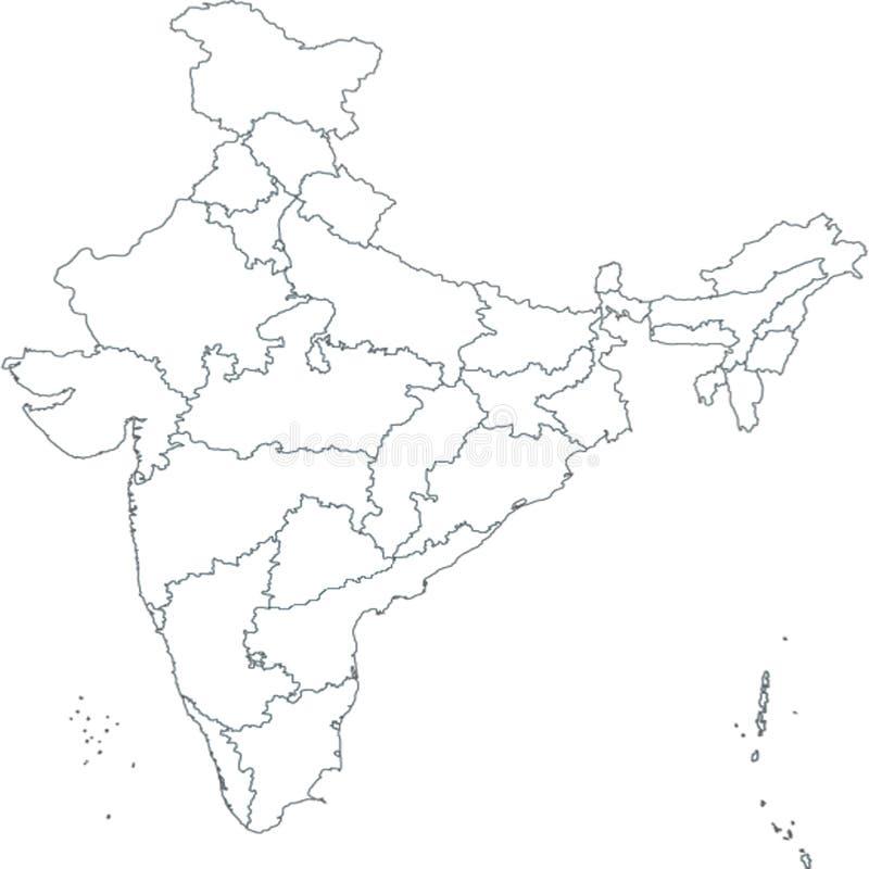 Mapa de la India, Asia con todos los estados y límite del país ilustración del vector