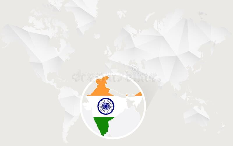 Mapa de la India con la bandera en contorno en el mapa del mundo poligonal blanco libre illustration