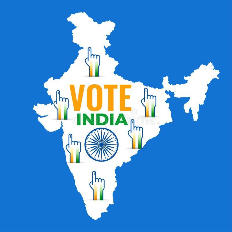 Mapa de la India con diseño de votación de la mano ilustración del vector