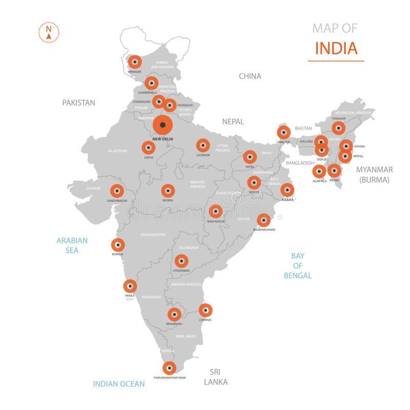 Mapa de la India con divisiones administrativas libre illustration
