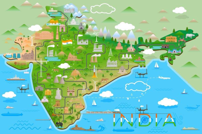 Mapa de la India con el monumento y la señal famosos stock de ilustración