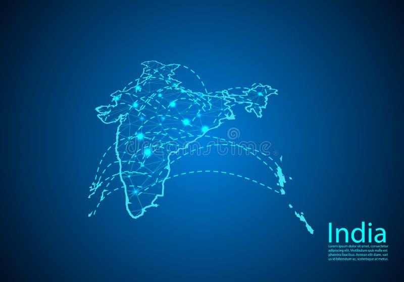 Mapa de la India con los nodos ligados por las líneas concepto de communic global stock de ilustración