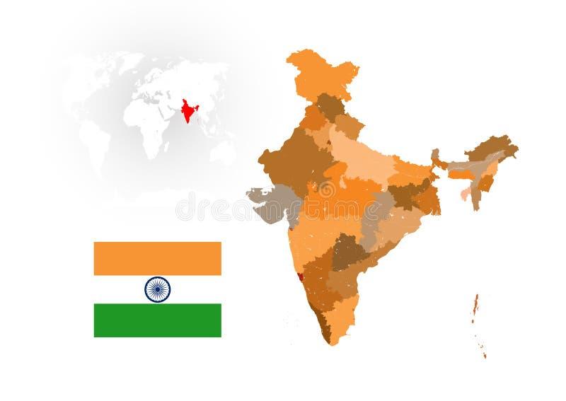 Mapa de la India con los ríos y los lagos ilustración del vector