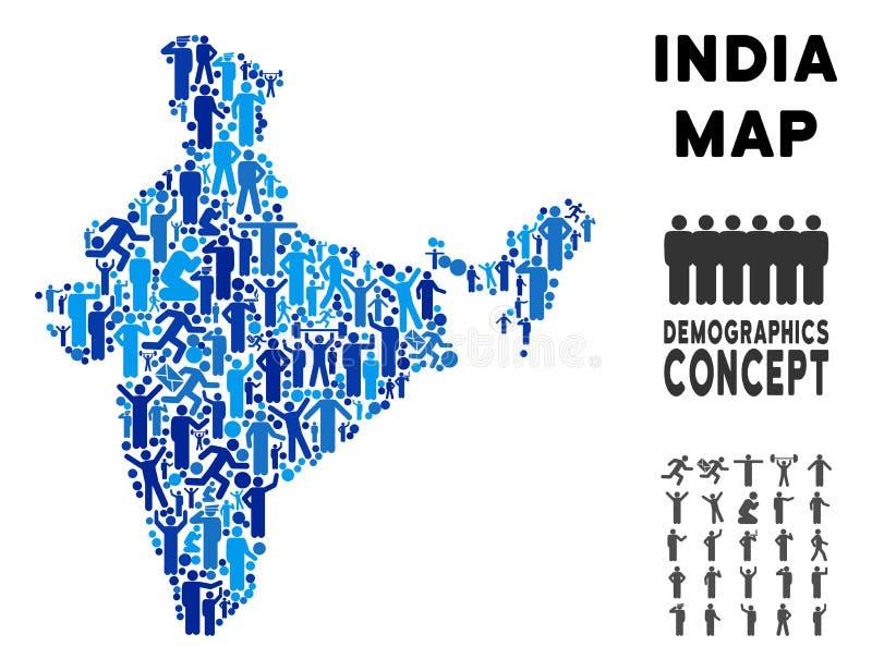 Mapa de la India del Demographics ilustración del vector