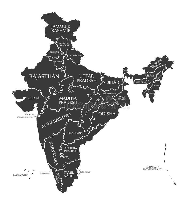 Mapa de la India etiquetado negro stock de ilustración